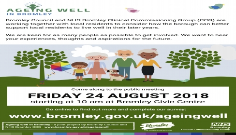 Ageing Well in Bromley survey and public meeting on Friday 24 August 2018