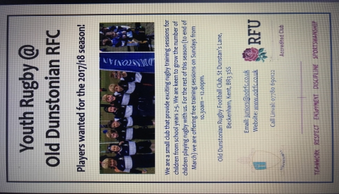 Youth rugby at Old Dunstonian RFC this Sunday at 1030hrs
